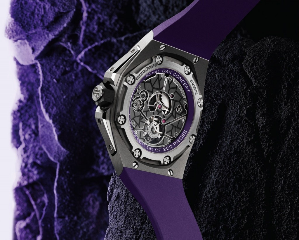 The Audemars Piguet Black Panther Royal Oak Flying Tourbillon is made of titanum and features white gold