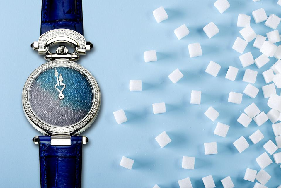 The dial of the Bovet Miss Audrey Sweet Art watch is made of pure sugar crystals