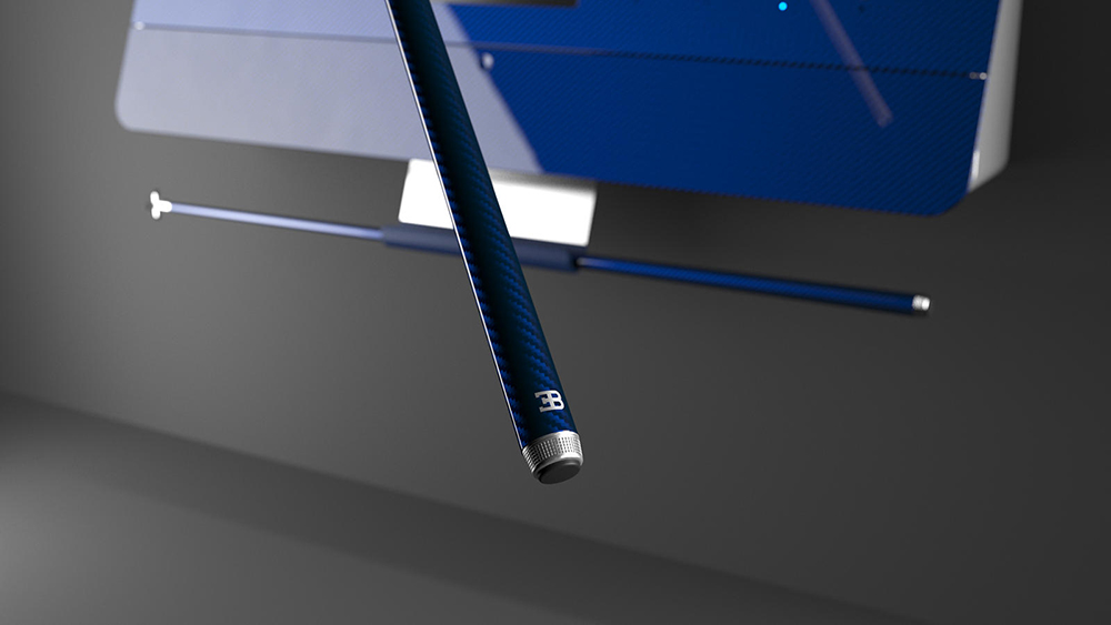 The pool cues resemble the signature design of the buttons in Bugatti's hypercars.