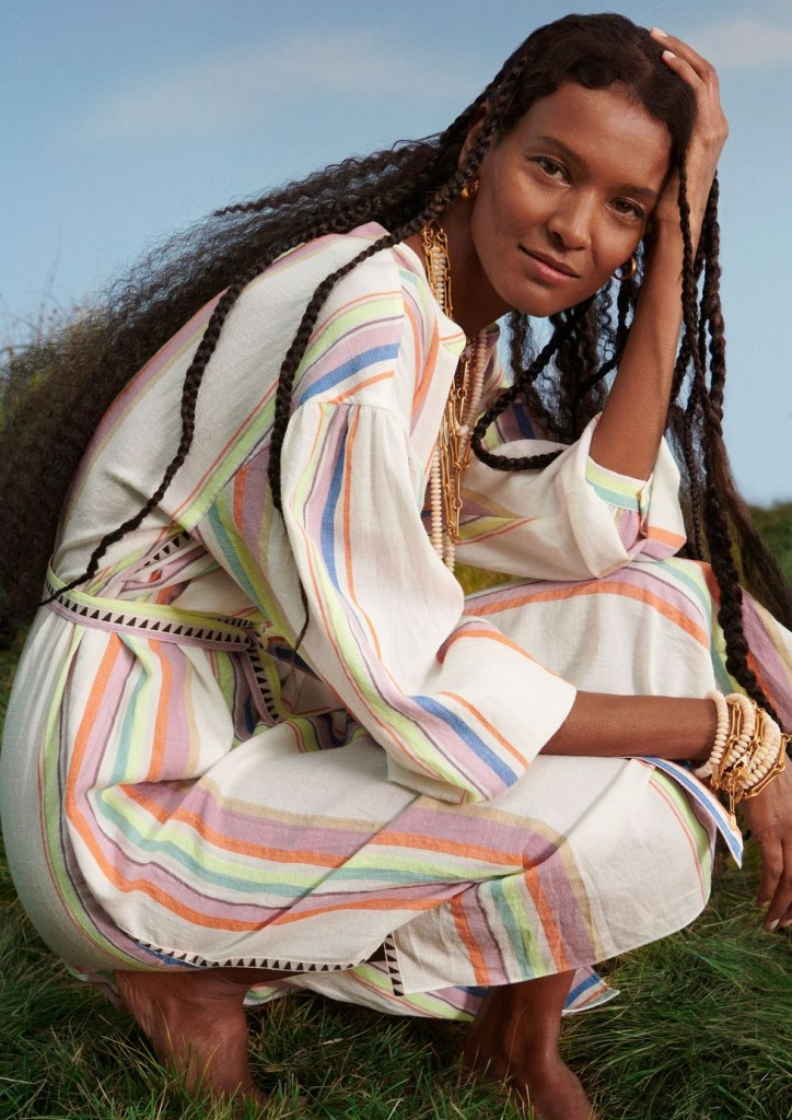 Liya Kebede in a dress from the Lemlem x H&M collection