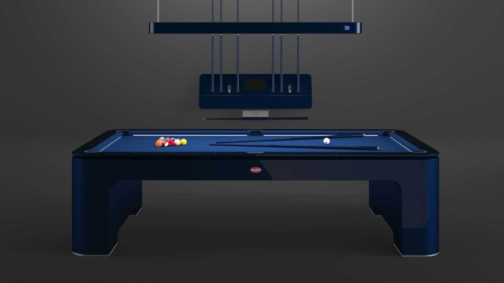 The Bugatti pool table with its accessories