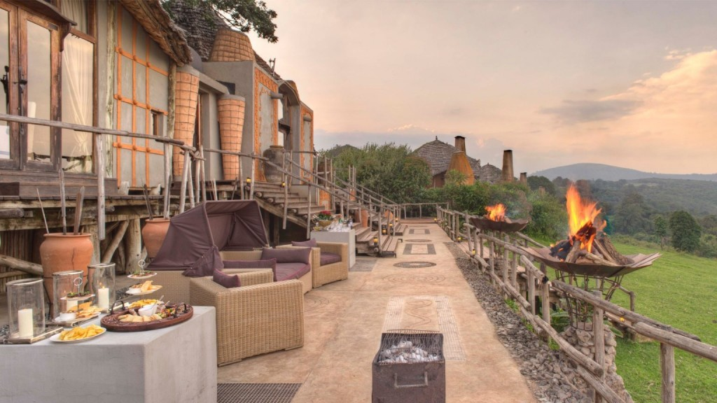 Guest area at the luxury Ngorongoro Crater Lodge