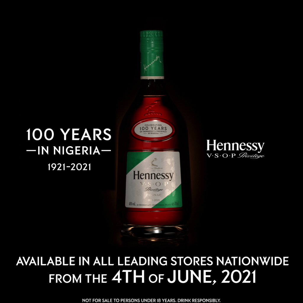 The V.S.O.P Privilège limited edition bottle is in celebration of 100 years of Hennessy in Nigeria