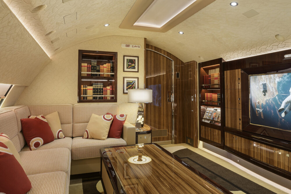 The TV lounge of the Alberto Pinto designed Boeing 747