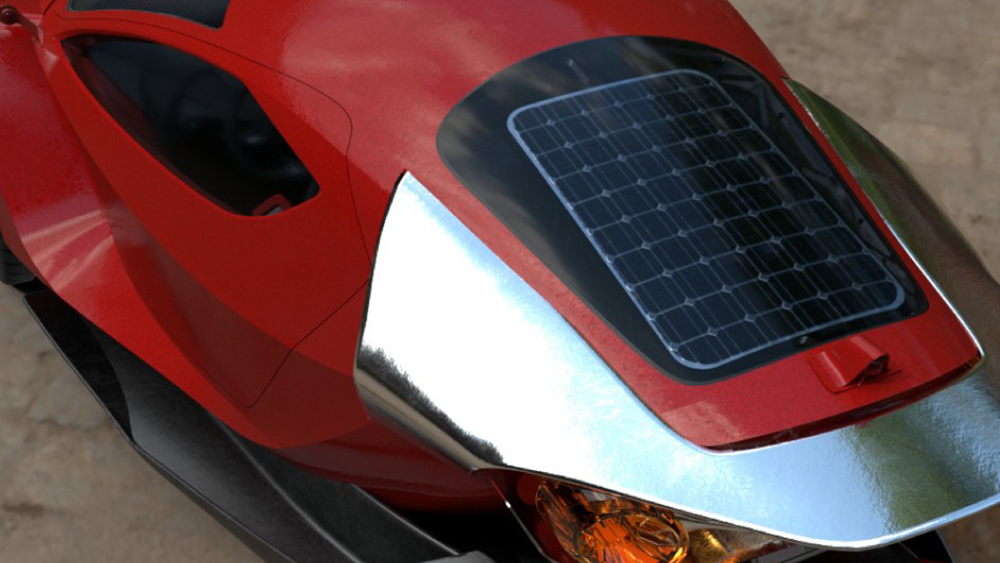 The Daymak Spiritus is outfitted with solar panels