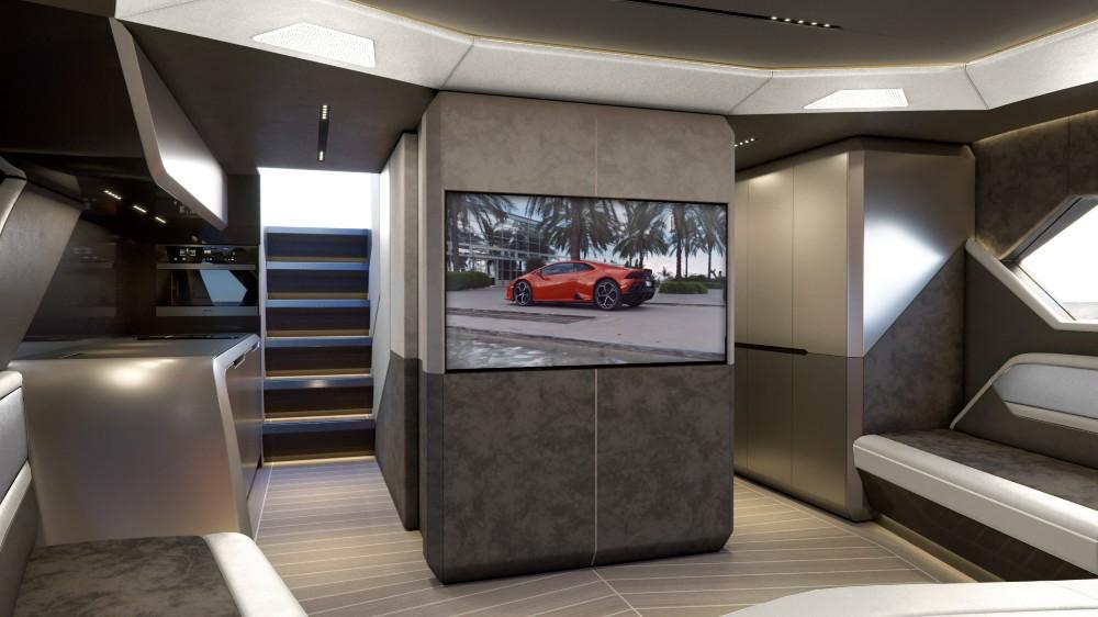 The interior of the Tecnomar for Lamborghini 63