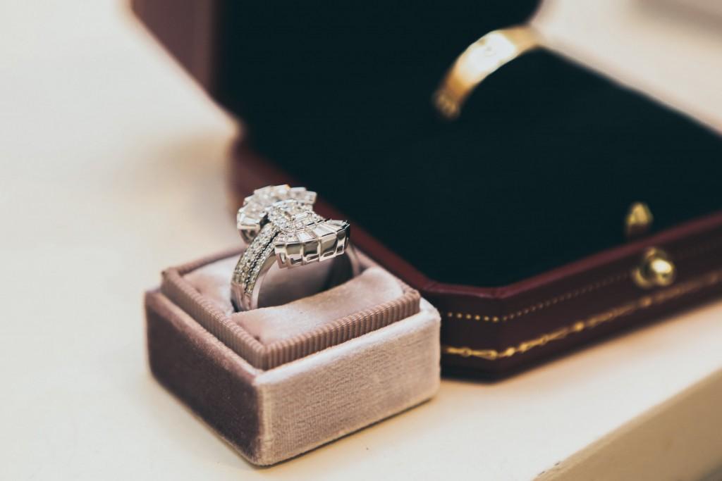 Sliver gemstone ring in a box